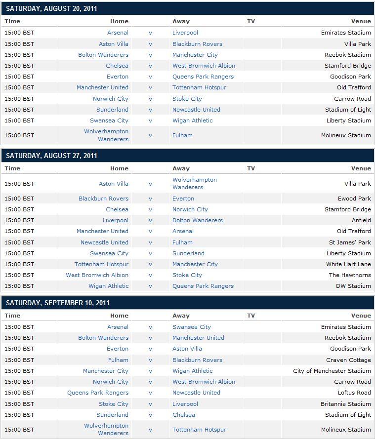 Calendario Partite Premier League.Calendario Premier League 2011 12 Tutte Le Partite