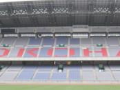 International Stadium di Yokohama - Nissan Stadium banner.